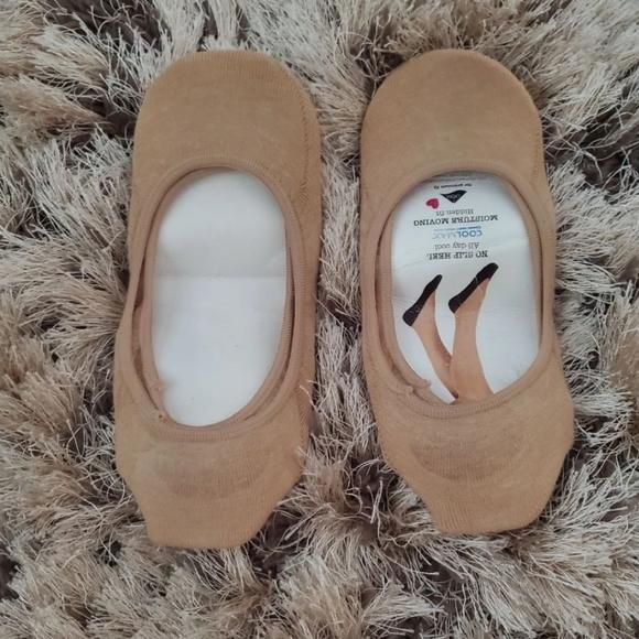 2 Pack Tan No Show Liner Socks - Size 4-10